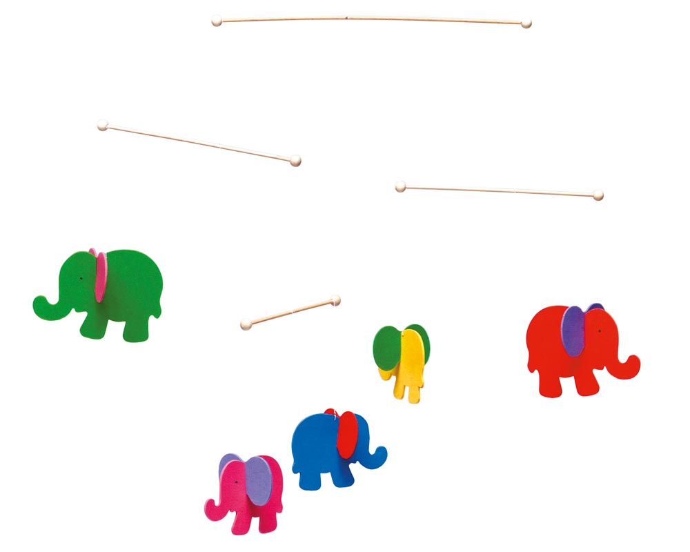 wooden mobile baby elephants