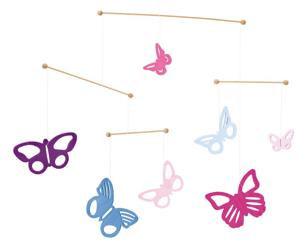 wooden mobile baby butterflies