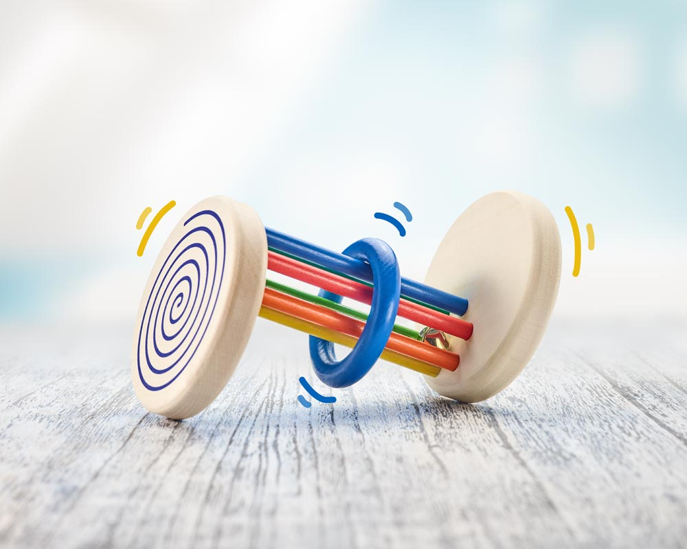 wooden roller toy visual spiral effect rolldi
