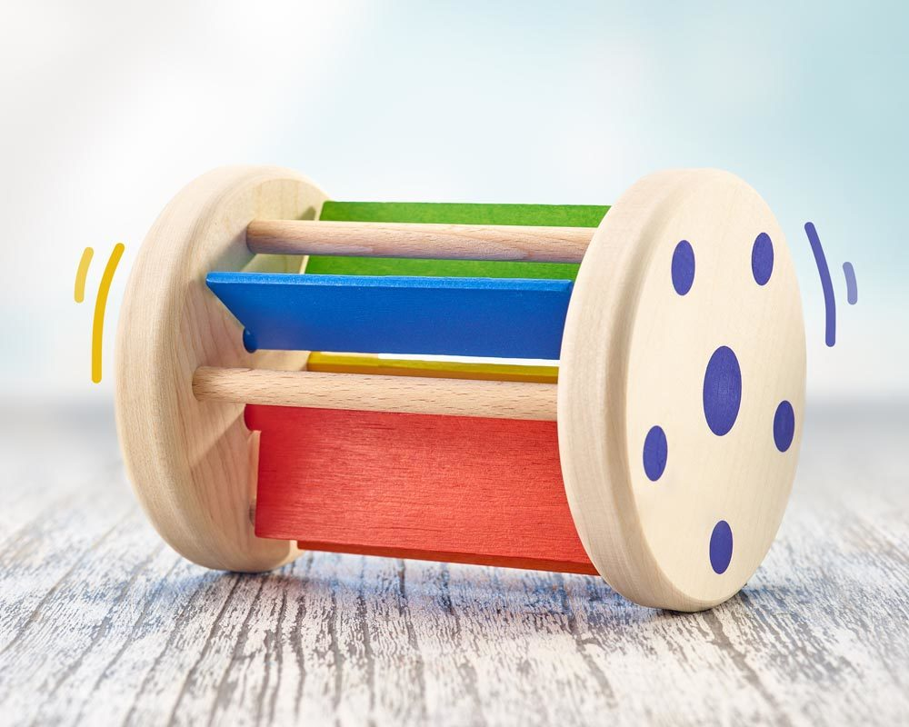 wooden roller toy rattling sounds rollmi