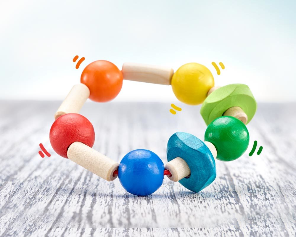 wooden rattle grabbing toy different shapes