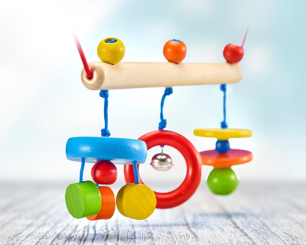 wooden pram chain with bells