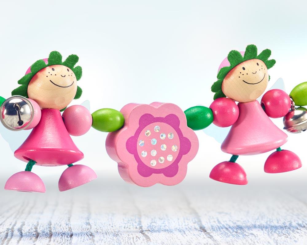 wooden pram chain pink fairies flowers
