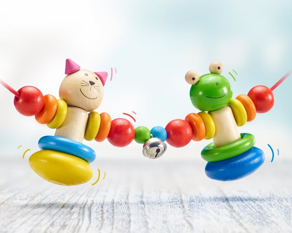 wooden pram chain happy friends cat dog
