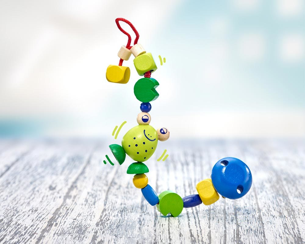 wooden pacifier chain comic frog