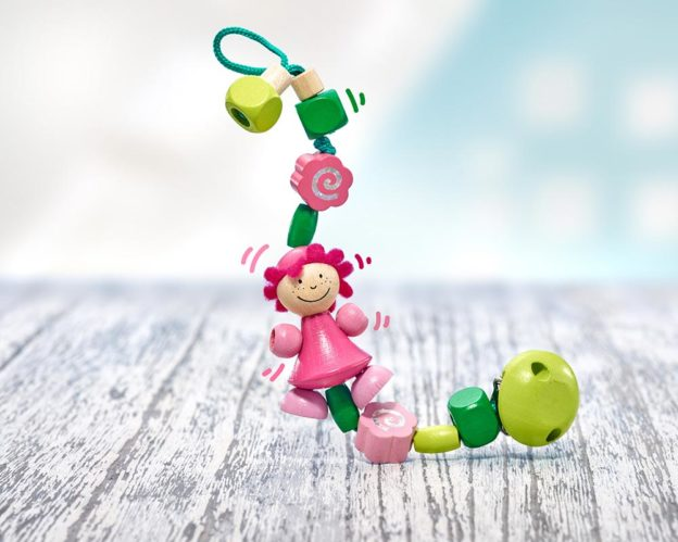 wooden pacifier chain pink girl