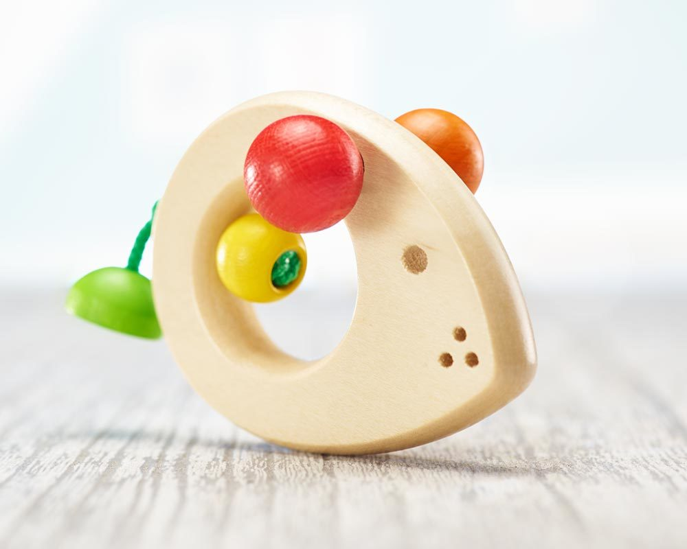 wooden grabbing toy teething ring baby mouse