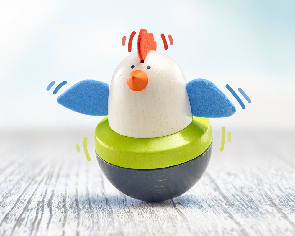 wooden baby wobble top chicken