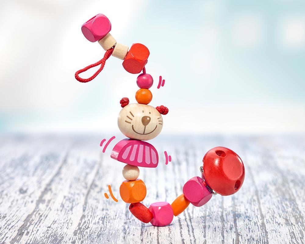 wooden pacifier chain cat