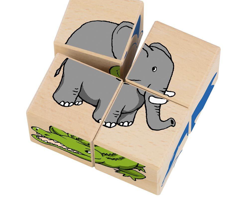 wooden picture cube zoo animal