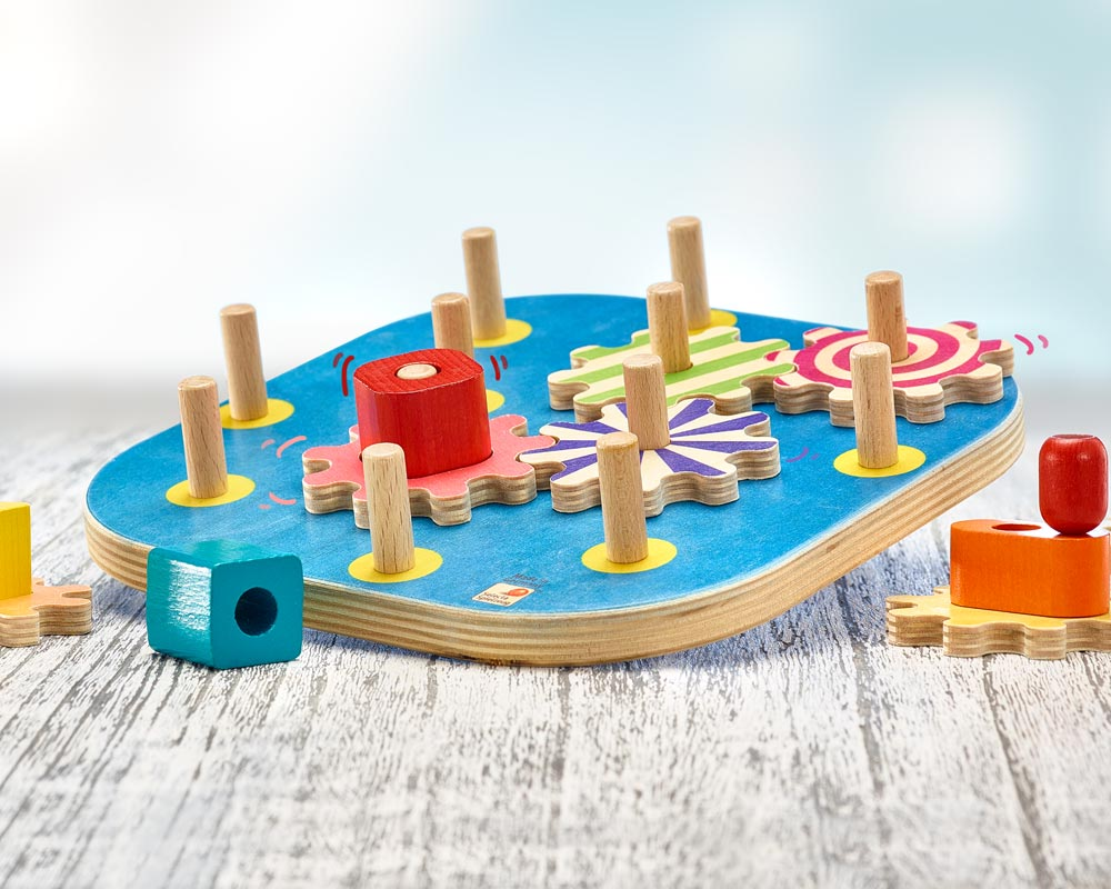 wooden winding fun stacking game toothed wheel