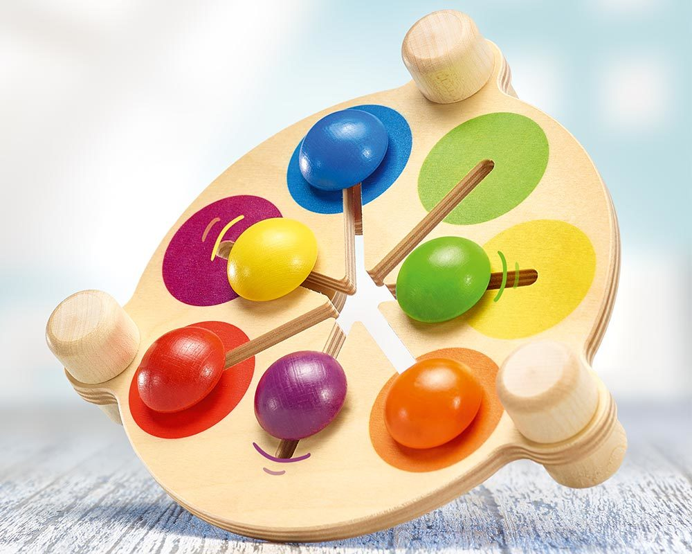 wooden colour pusher motor skills game