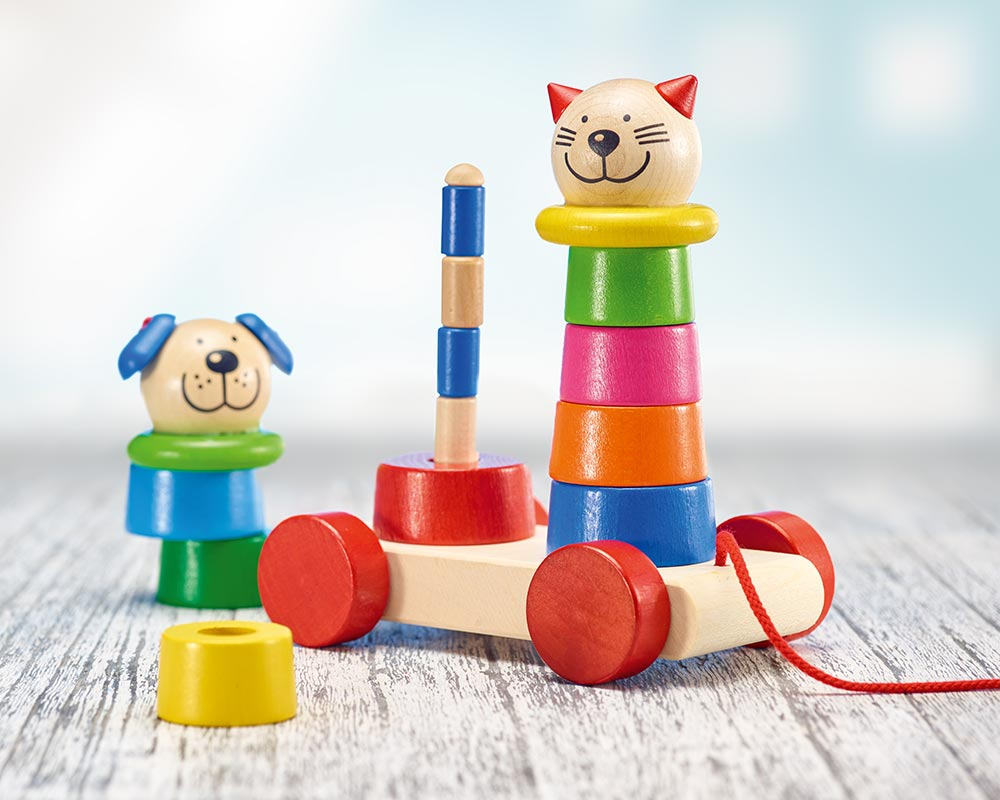 wooden pull along shape game stacking
