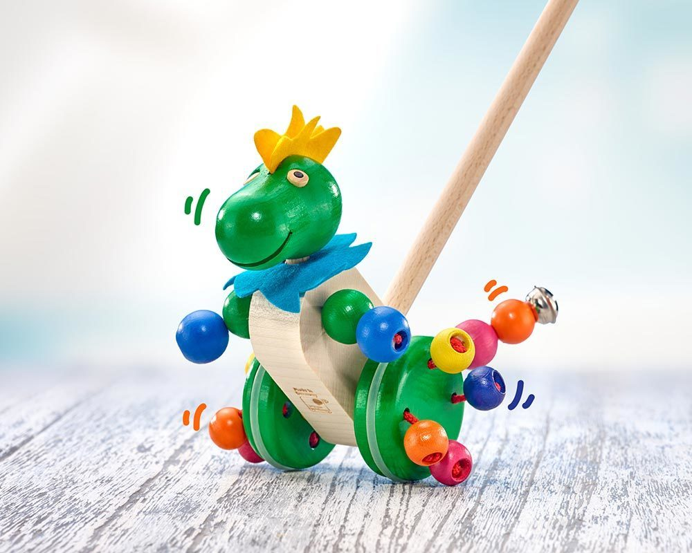 wooden push along toy dragon tattolo