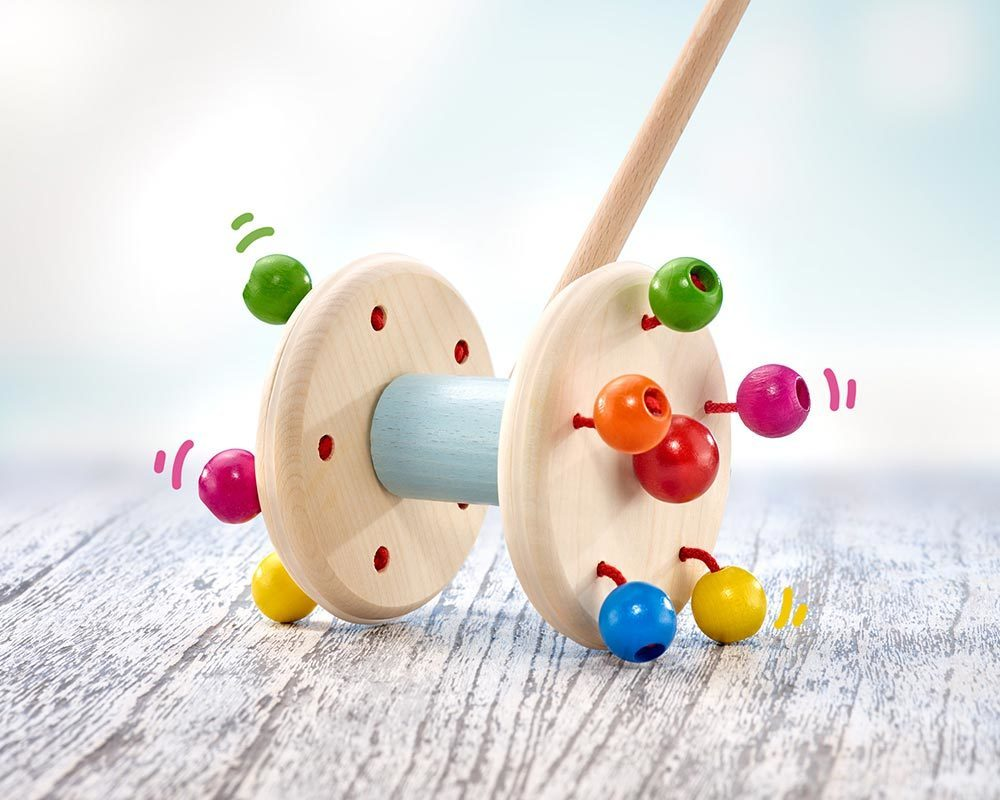 wooden push along toy roller wooden beads