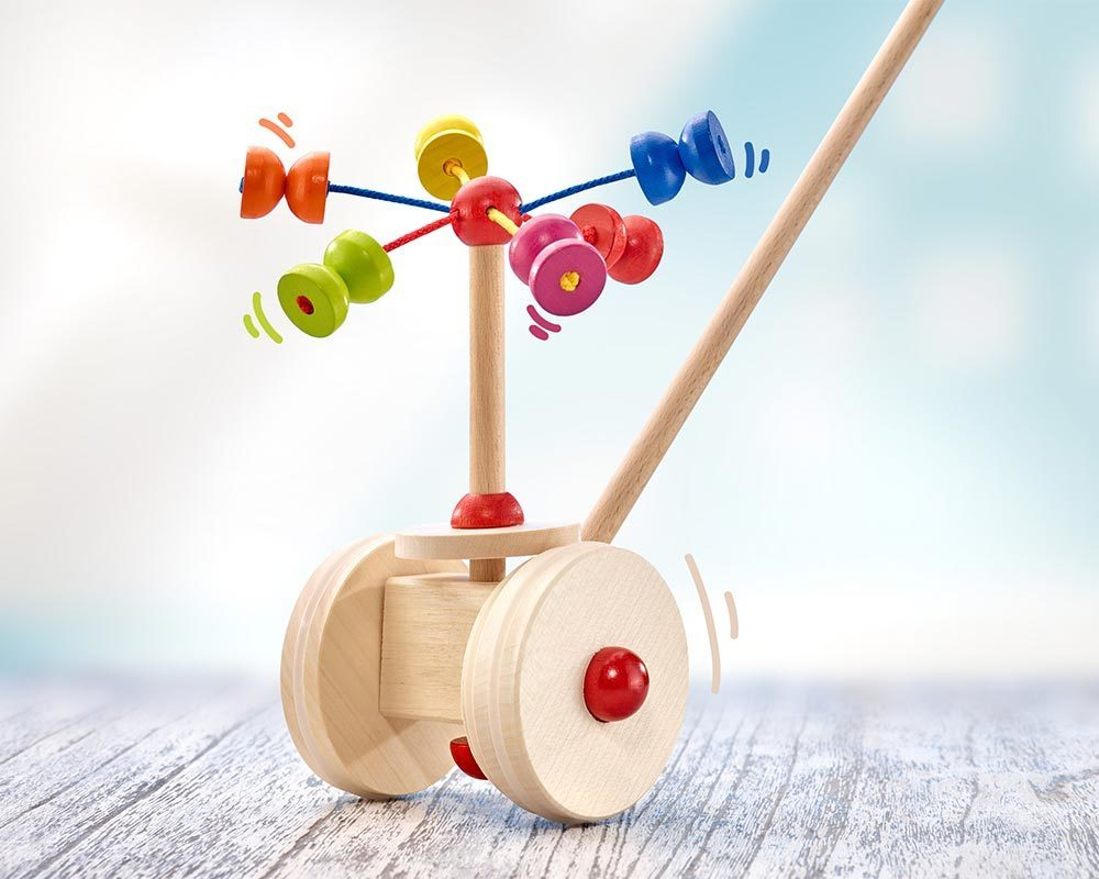 wooden push along toy carousel balls