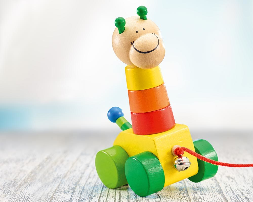 wooden pull along shape game stacking toy