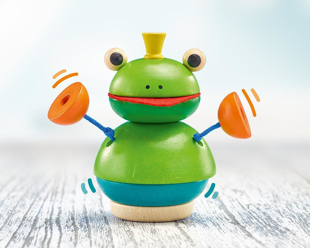 wooden stacking game frog pepito