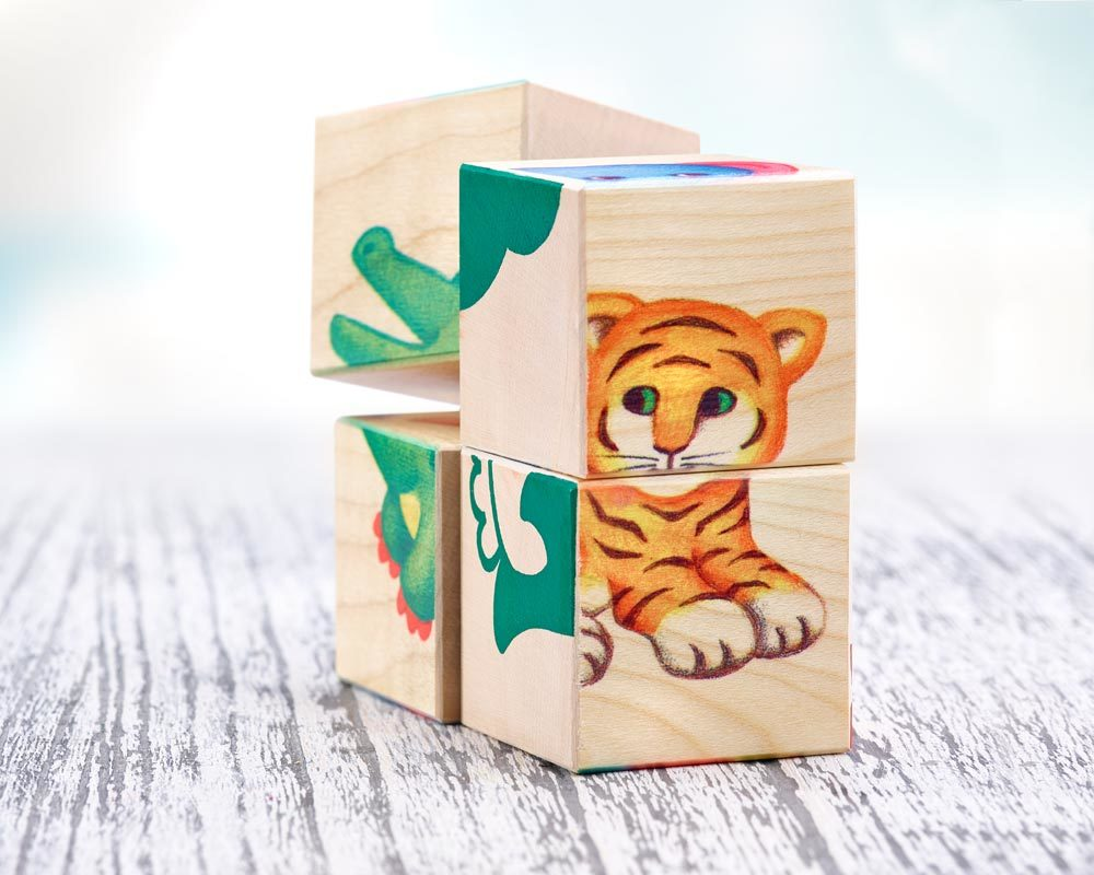 wooden picture cube baby animal zoo children