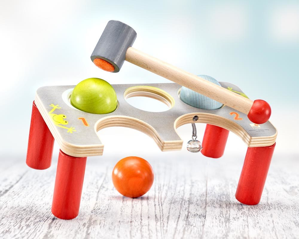 wooden punch game balls hammer