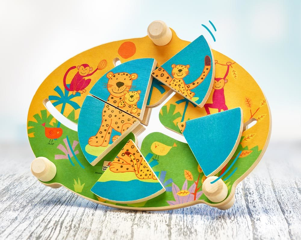 wooden shape slider jungle animals