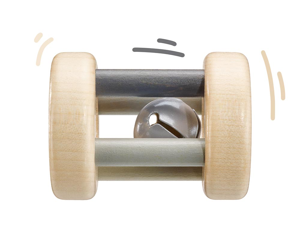 wooden rattle grey bellybutton