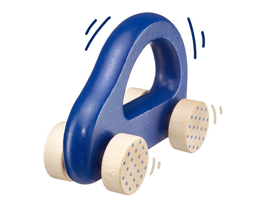 wooden grabbing toy car blue bellybutton