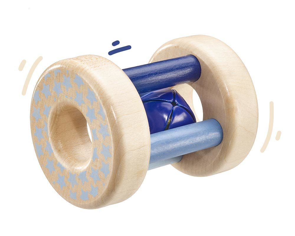 wooden rattle blue bellybutton