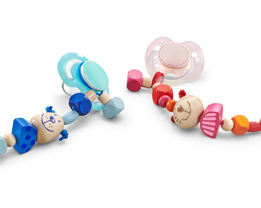 wooden pacifier chain dog