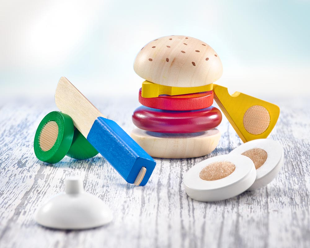 wooden play kitchen children burger