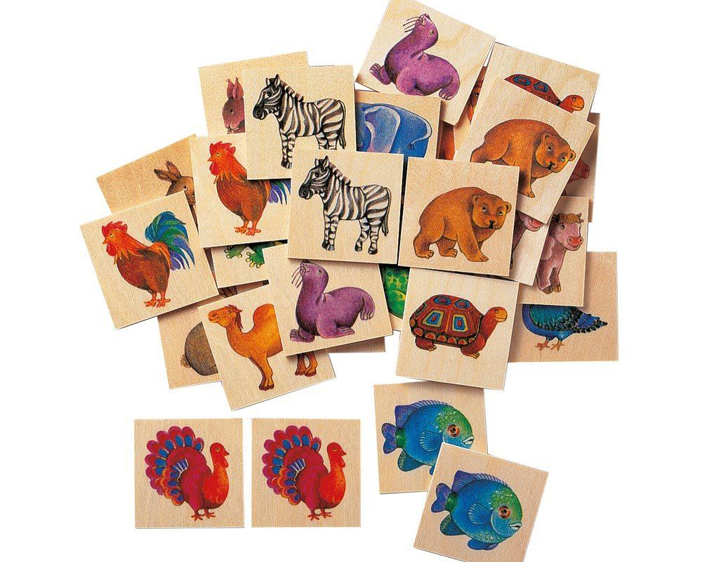 wooden picture memo game zoo animals