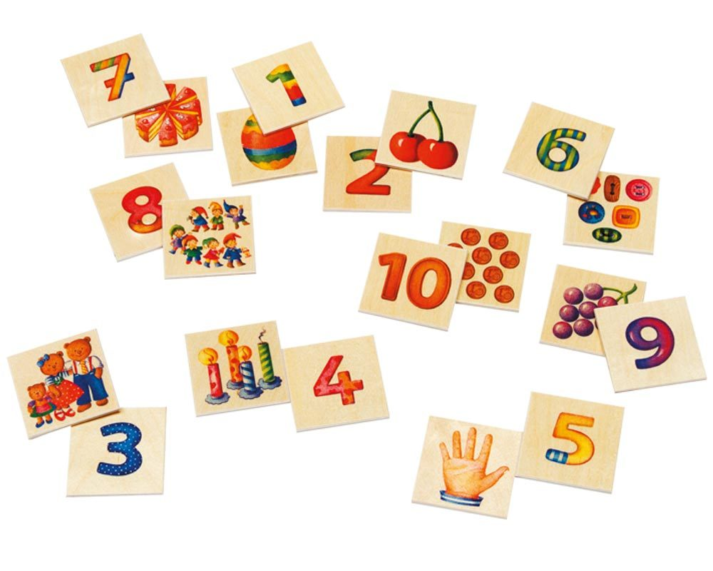wooden picture memo game numbers