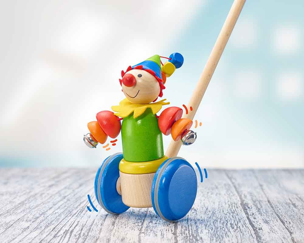 wooden pull along toy clown