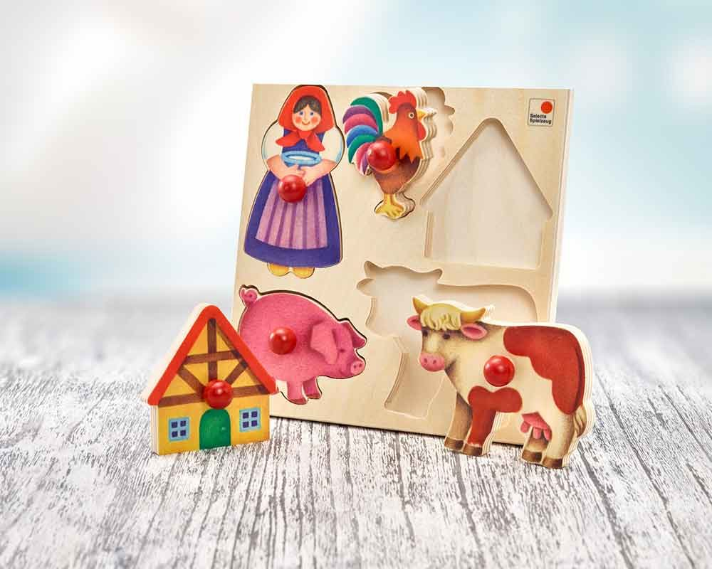 wooden shape puzzle baby farm