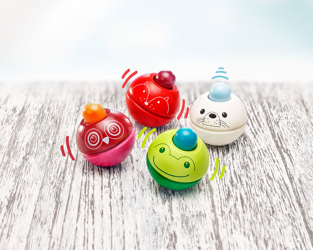 Squeaky Ball Animals Animino Wooden Toy