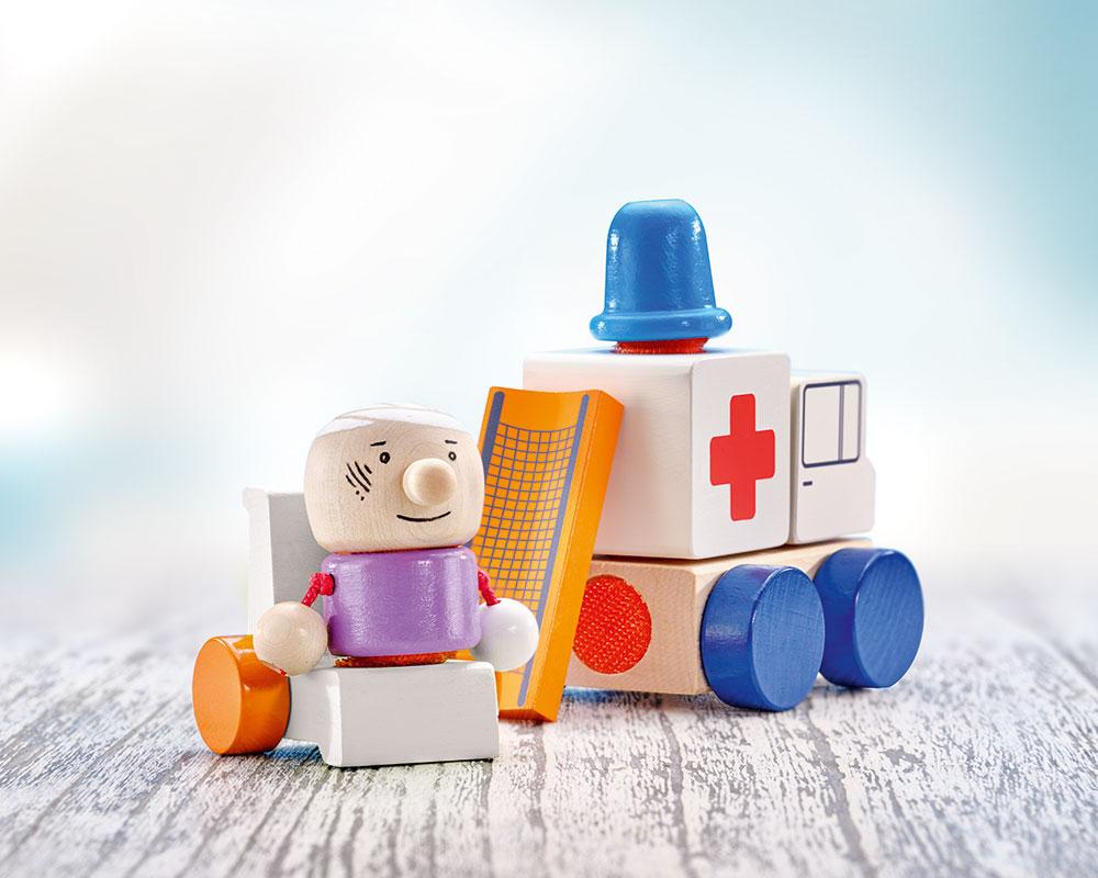 Klettini ambulance velcro wooden toy selecta