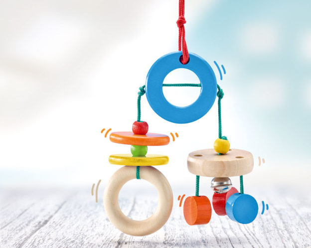 wooden mini trapeze rattles bells
