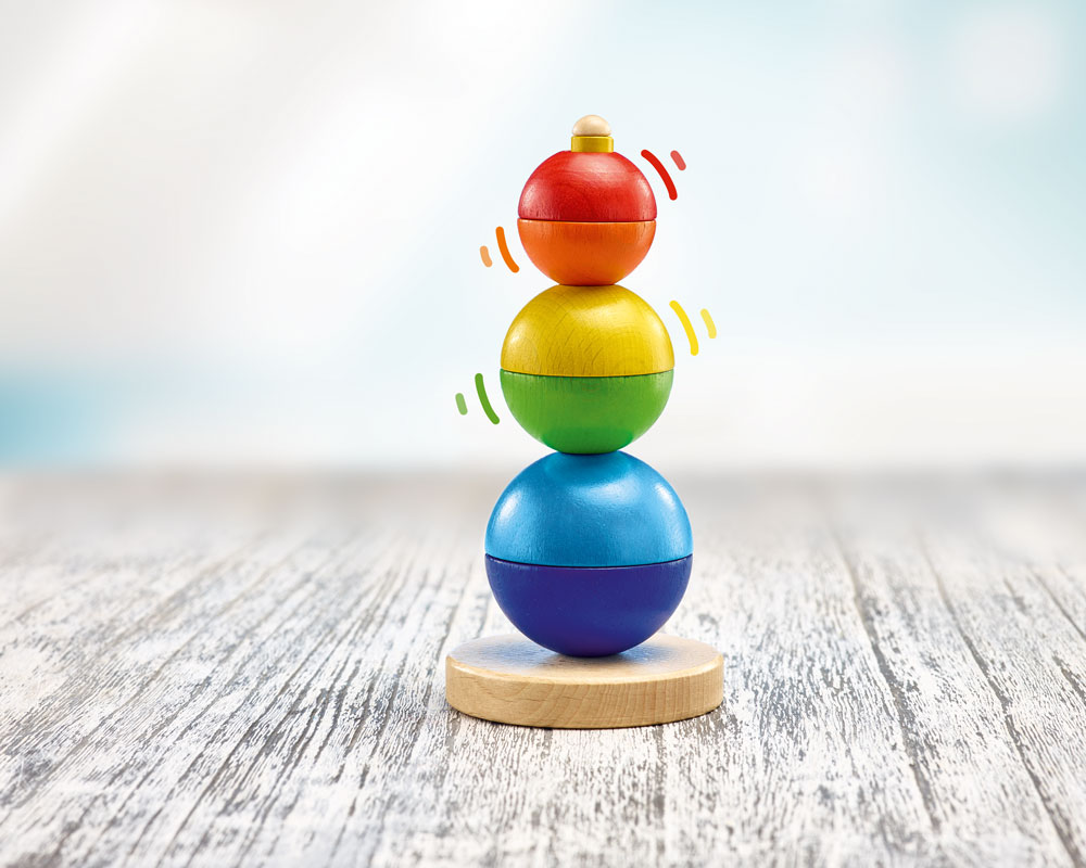 wooden stacking tower baby ball