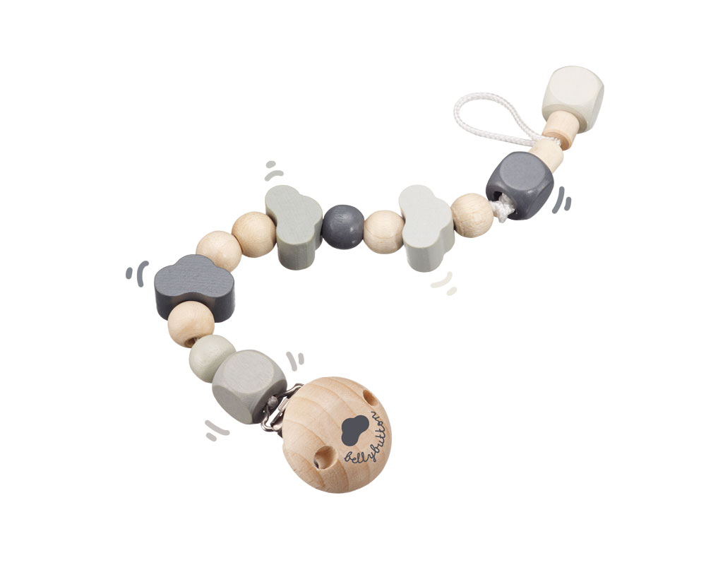 wooden pacifier chain grey bellybutton