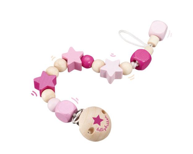 wooden pacifier chain pink bellybutton