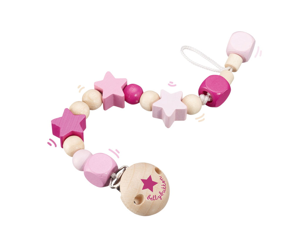 wooden pacifier chain pink bellybutton