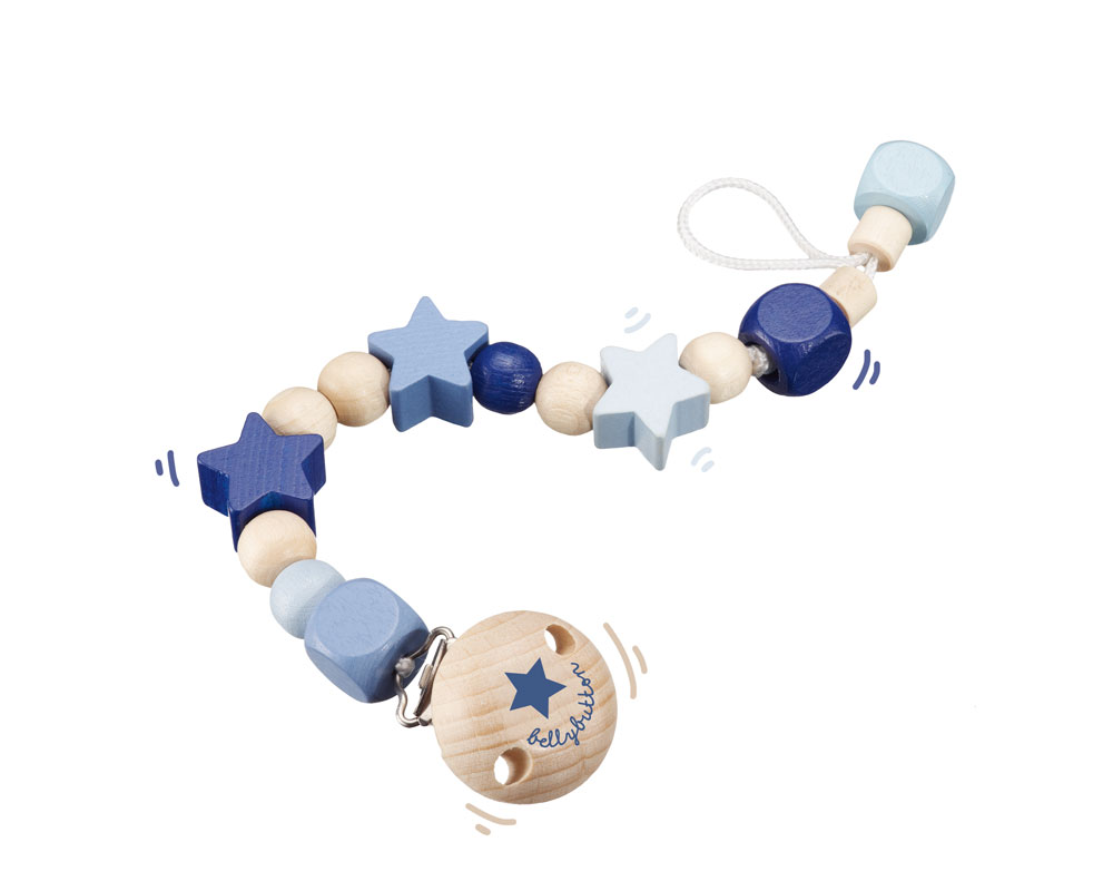 wooden pacifier chain blue bellybutton