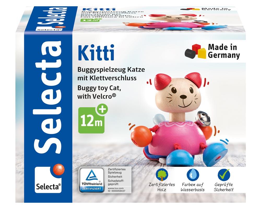 wooden buggy toy cat velcro kitti