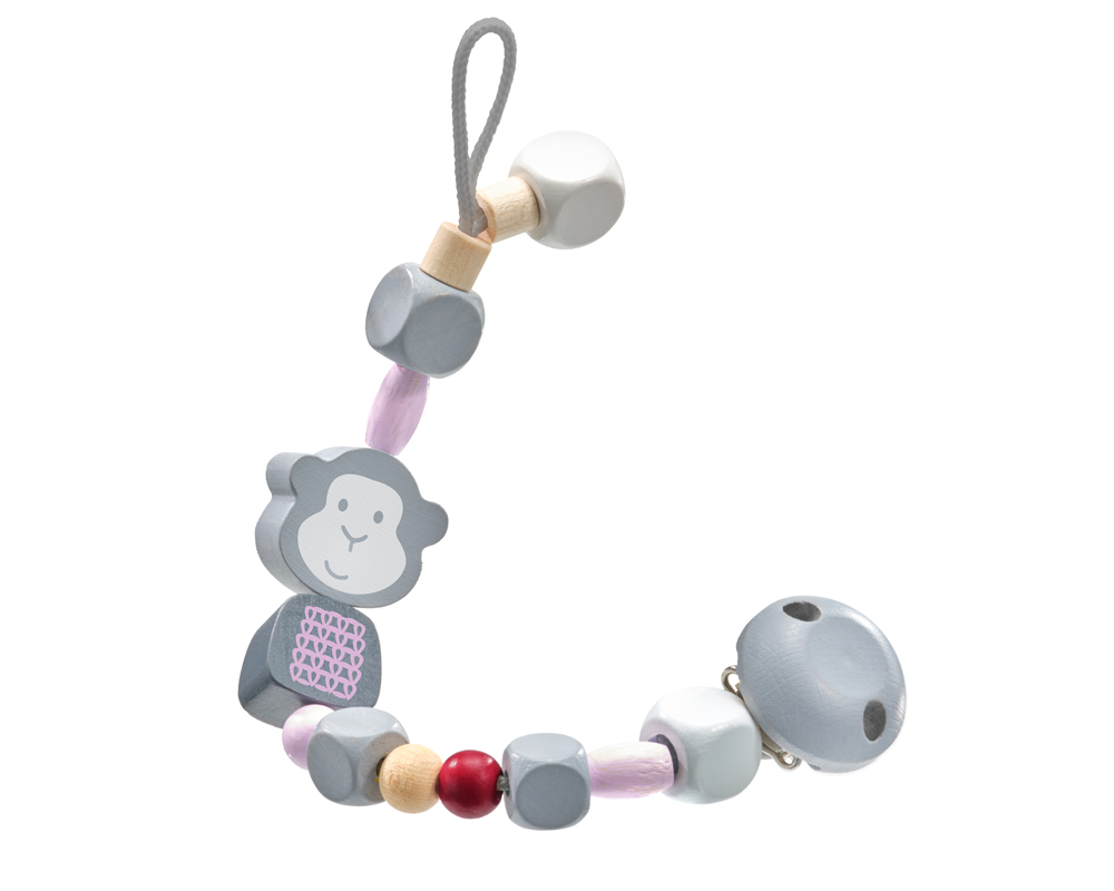 pacifer chain monkey pink