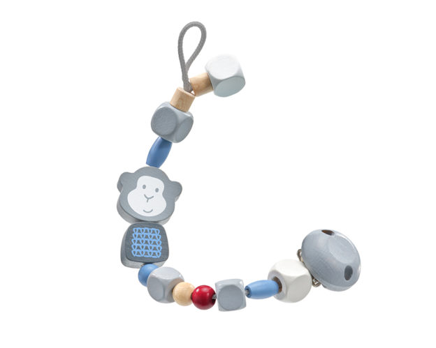 bellybutton pacifier chain monkey blue wooden toy