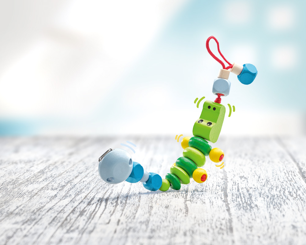 wooden pacifier chain crocodile