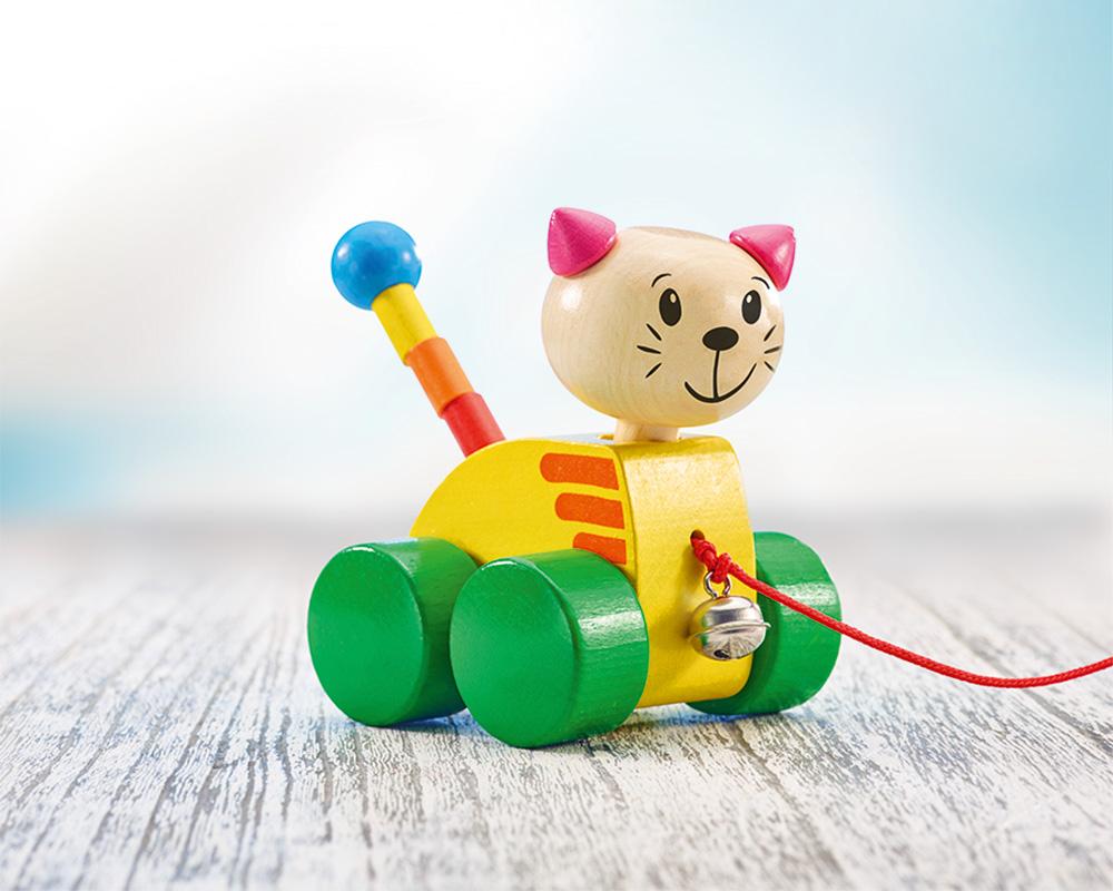 wooden pull along animal cat tinka