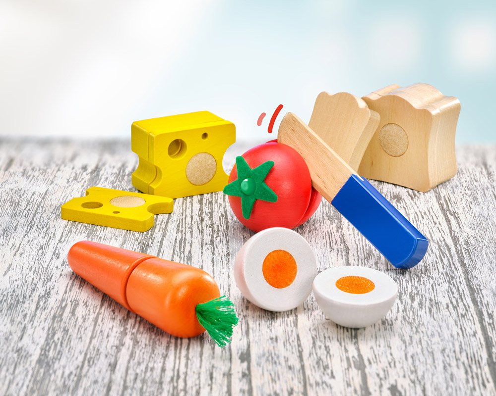 wooden snack time cutting toy children